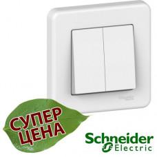 LNA0300321 Выключатель двухклавишный Schneider Leona Белый