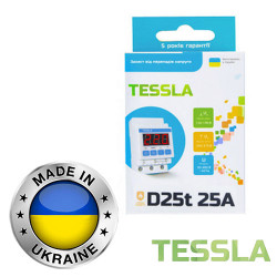 Реле напряжения с термозащитой TESSLA 3П 25А D25t