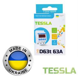 Реле напряжения с термозащитой TESSLA 3П 63А D63t